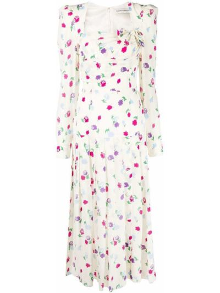 Шелковое платье миди с бантом в цветочный принт Alessandra Rich