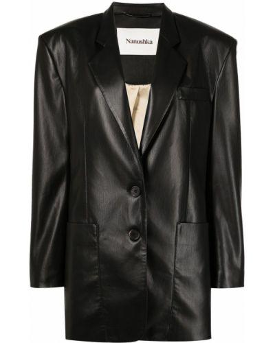 Однобортный коричневый удлиненный пиджак с карманами Nanushka