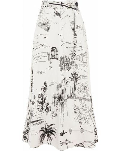 Льняная белая юбка миди с поясом Paul Smith