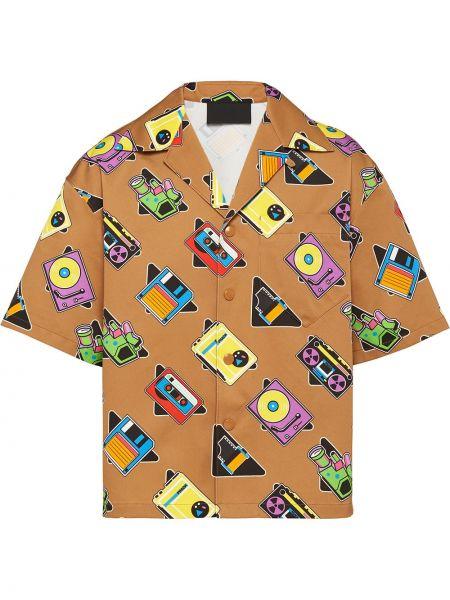 Koszula z długim rękawem prosto z kieszeniami Prada