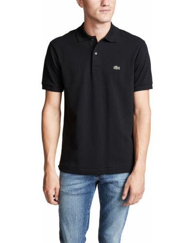Czarna koszula krótki rękaw bawełniana Lacoste