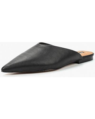 Черное кожаные сабо Topshop
