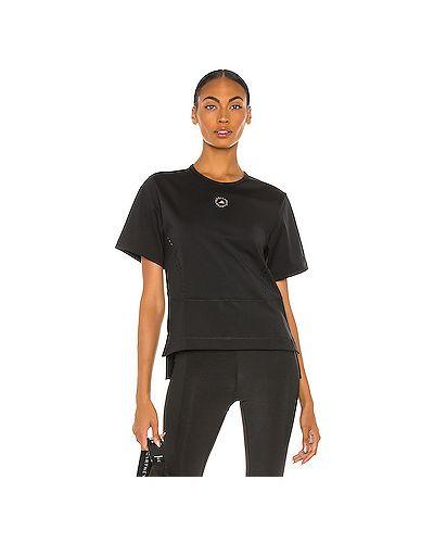 Текстильный черный топ с разрезом Adidas By Stella Mccartney