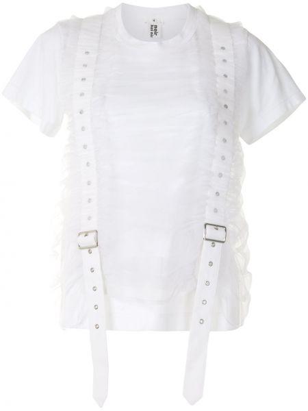 Хлопковая белая блузка с вырезом круглая Comme Des Garçons Noir Kei Ninomiya