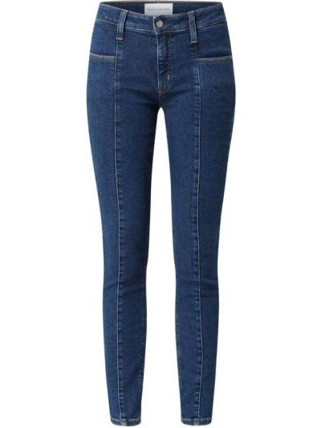 Bawełna niebieski obcisłe dżinsy z kieszeniami chudy Calvin Klein Jeans