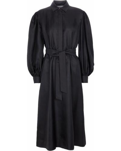Шелковое черное платье миди Max Mara