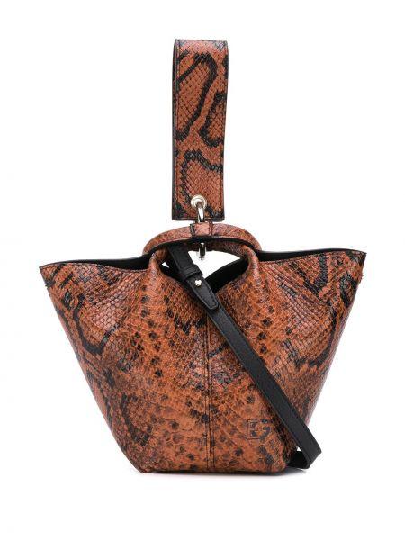 Черная кожаная сумка круглая Elena Ghisellini