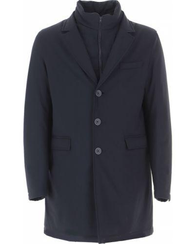 Niebieski długa kurtka z długimi rękawami z kieszeniami na przyciskach Herno