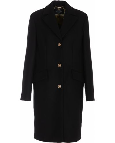 Czarny długi płaszcz wełniany Versace