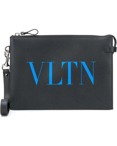 Z paskiem skórzany czarny torba sprzęgło z łatami Valentino Garavani