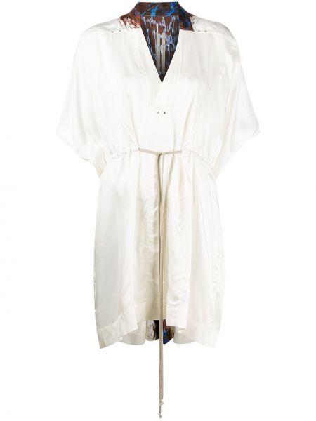 Biały sukienka mini z dekoltem w szpic metal krótkie rękawy Rick Owens