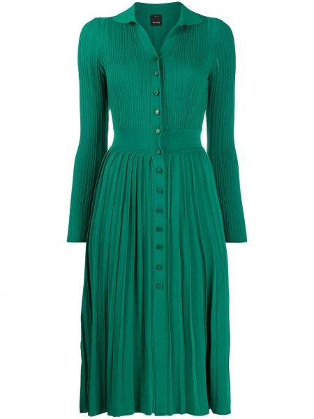 Зеленое платье миди с вырезом с воротником Pinko