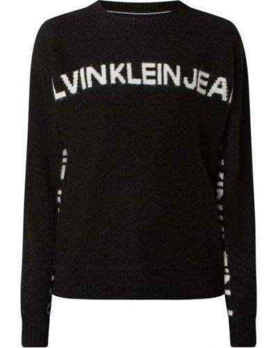 Z rękawami czarny sweter z dekoltem z alpaki Calvin Klein Jeans
