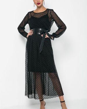 Платье с поясом в горошек на бретелях Valentina