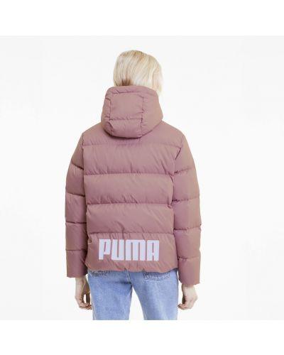 Пуховая розовая спортивная куртка на пуговицах с надписью Puma