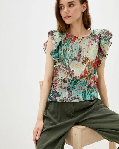 Бирюзовая блузка с оборками Naf Naf