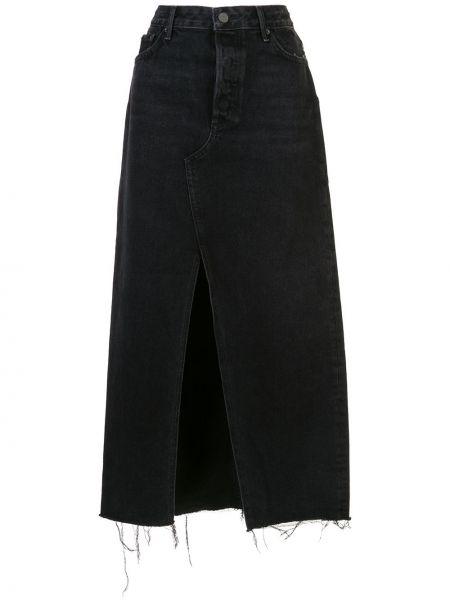 Czarna spódnica maxi z paskiem bawełniana Grlfrnd