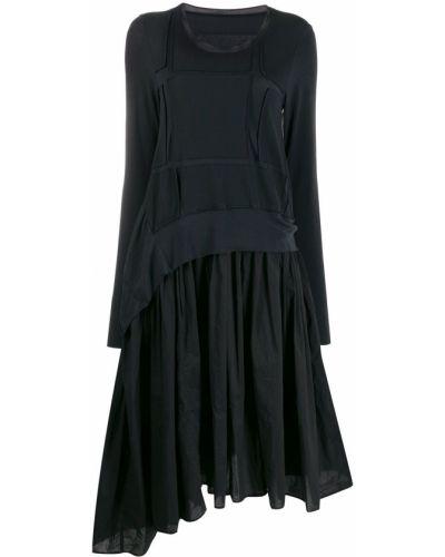 Асимметричное платье макси сетчатое с воротником Rundholz Black Label