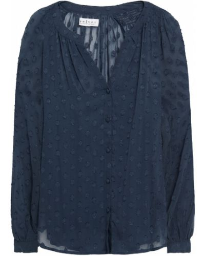 Bluzka z aksamitu - niebieska Velvet By Graham & Spencer