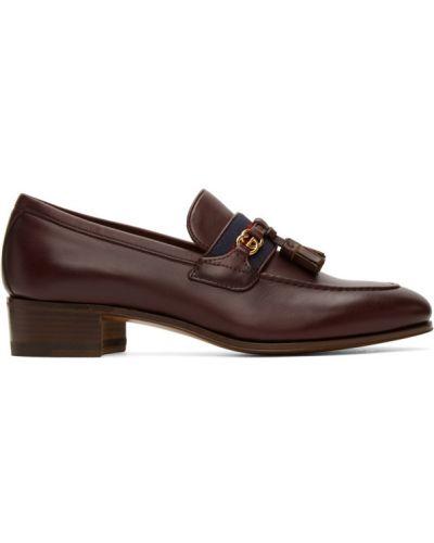 Skórzany loafers na pięcie z frędzlami złoto Gucci