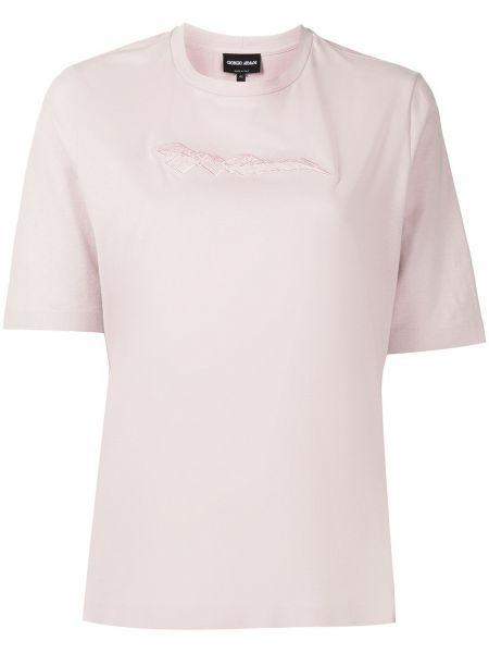 Розовая футболка с короткими рукавами Giorgio Armani