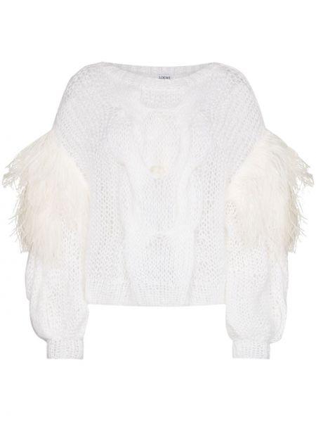 Biały sweter z moheru przycięte Loewe