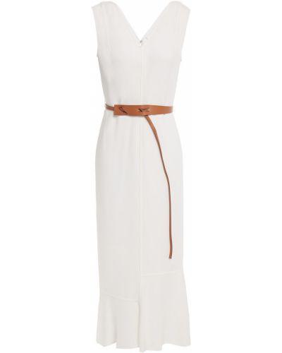 Biała sukienka midi skórzana z paskiem Victoria Beckham