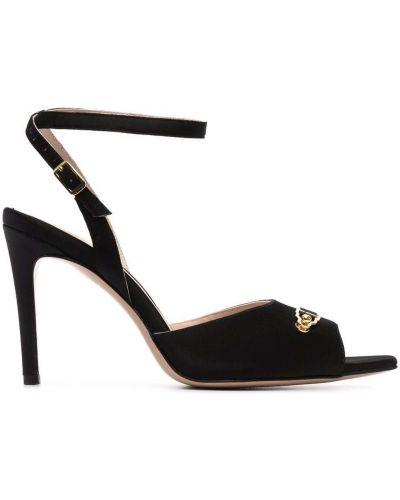 Czarne złote sandały skórzane na obcasie Murmur
