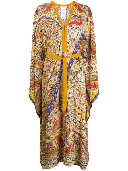 Платье с поясом с V-образным вырезом с рукавами Etro