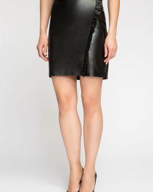 Кожаная юбка черная осенняя Kotis Couture