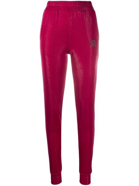 Красные с завышенной талией укороченные брюки с поясом John Richmond