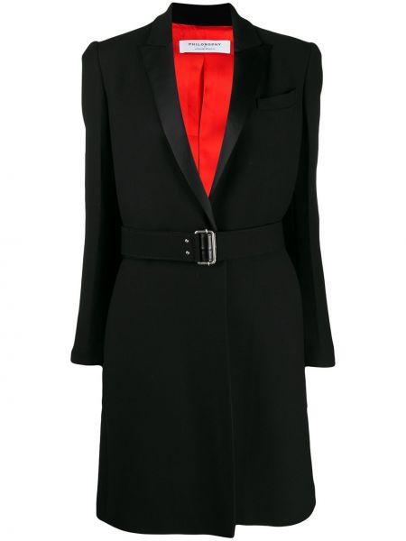 Шерстяное черное пальто с поясом Philosophy Di Lorenzo Serafini