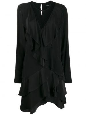 Czarna sukienka długa asymetryczna z długimi rękawami Barbara Bui