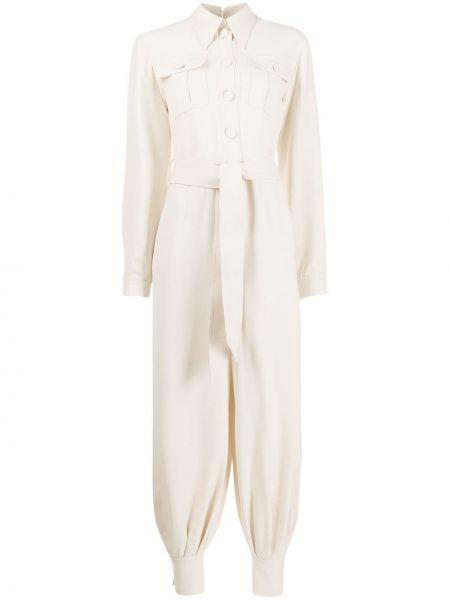 Wełniany biznes spodni kombinezon z mankietami z długimi rękawami Gucci
