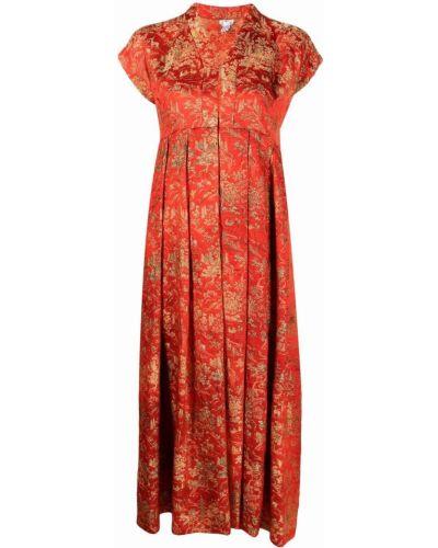Оранжевое платье миди с короткими рукавами с вырезом Comme Des Garçons Comme Des Garçons