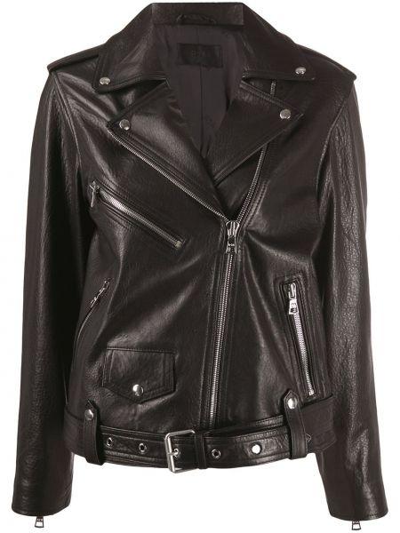 Черная кожаная куртка байкерская Rta
