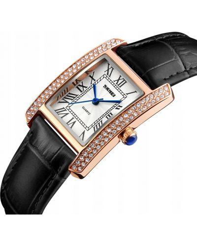 Klasyczny czarny zegarek skórzany Skmei