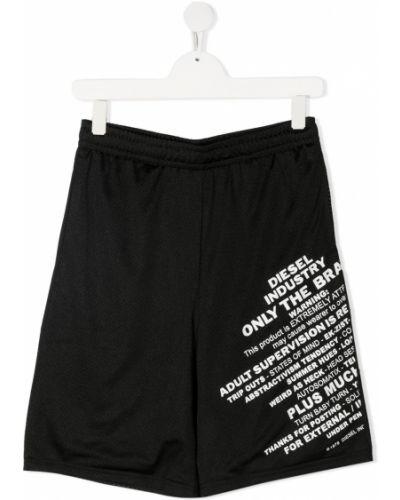 Черные спортивные шорты эластичные без застежки Diesel Kids