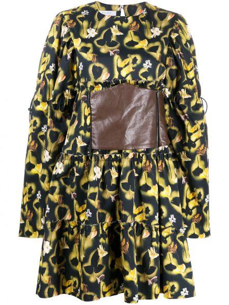 Желтое кожаное платье макси с длинными рукавами с кокеткой Delada