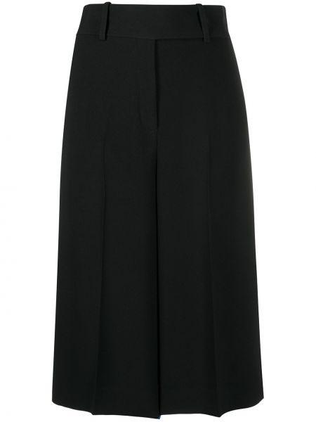 Плиссированные черные укороченные брюки со складками Ermanno Scervino