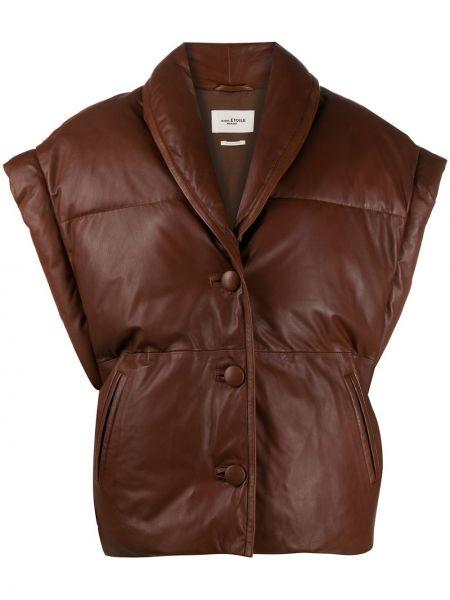 Хлопковая коричневая стеганая жилетка с карманами с лацканами Isabel Marant étoile