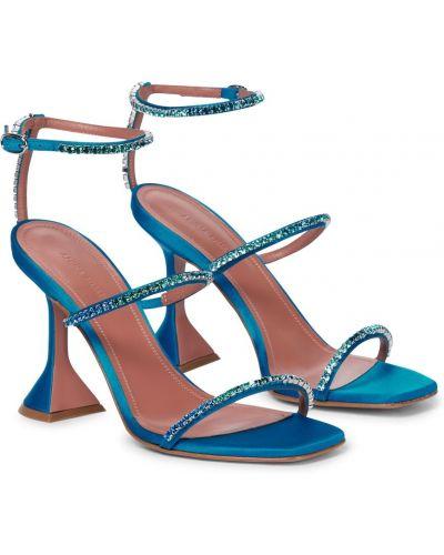 Синие кожаные сандалии Amina Muaddi