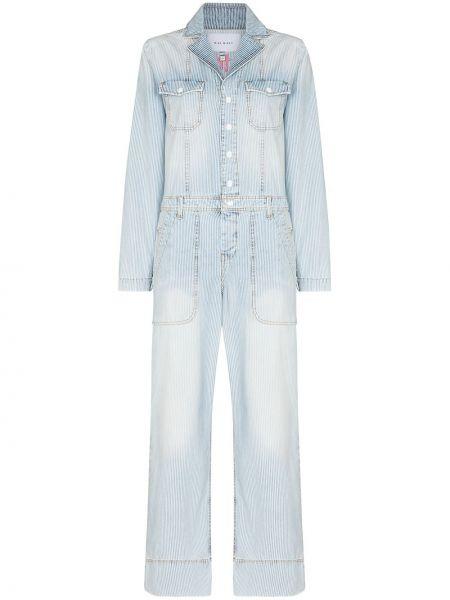 Хлопковый синий джинсовый комбинезон с длинными рукавами Mira Mikati