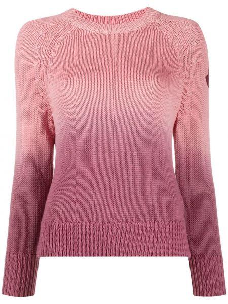 Прямой розовый свитер в рубчик с круглым вырезом Moncler