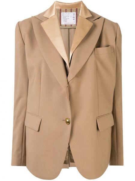 Шерстяной коричневый пиджак с карманами Sacai