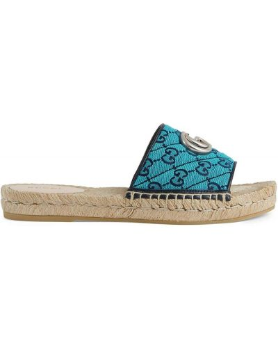 Sandały peep toe - niebieskie Gucci