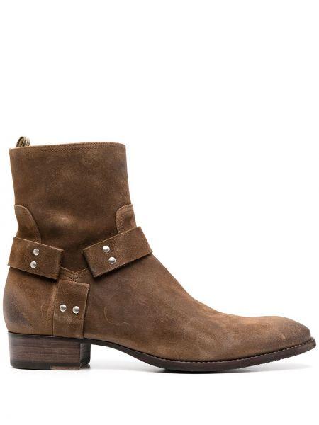 Skórzany brązowy buty na pięcie na pięcie kaskada Officine Creative