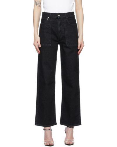 Черные прямые укороченные джинсы с карманами Helmut Lang