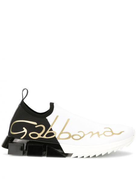 Белые спортивные слипоны Dolce & Gabbana