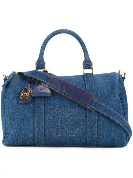 Синяя нейлоновая дорожная сумка круглая с нашивками Chanel Pre-owned